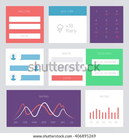 Set of flat design UI and UX elements for website and mobile app design - stock vector