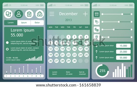 Set of flat design ui elements for mobile app and web. Eps 10. - stock vector