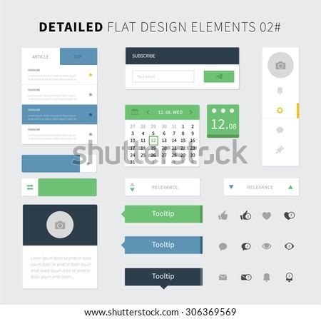Set of Flat design ui kit for webdesign / Style flat ui kit design elements set for web design. Vector social panel, calendar, notification icons and menu for website presentation. - stock vector