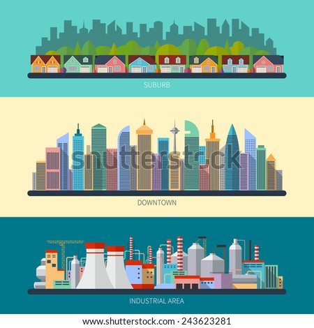 Set of flat design urban landscape illustrations including downtown, suburb and industrial landscapes - stock vector