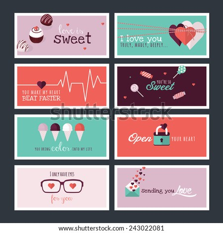 Set of flat design Valentines day greeting cards and banners - stock vector