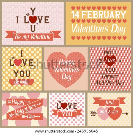 Set of flat design Valentines day greeting cards, EPS 10 contains transparency. - stock vector