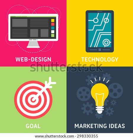 Set of Flat Design Vector Business Illustrations. Web Design, Technology, Goal, Marketing Ideas - stock vector