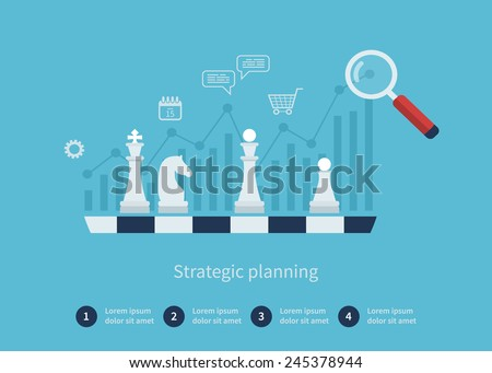 Set of flat design vector illustration concepts for data analysis, strategy planning and successful business