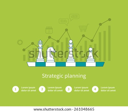 Set of flat design vector illustration concepts for data analysis, strategy planning and successful business. Thin line icons  - stock vector