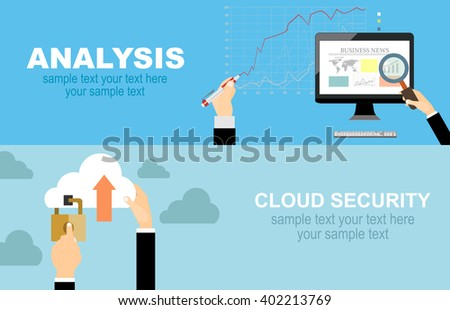 Set of flat design vector illustration concepts for data protection,and internet security,business analysis and planning, consulting, project management,financial report and strategy . - stock vector