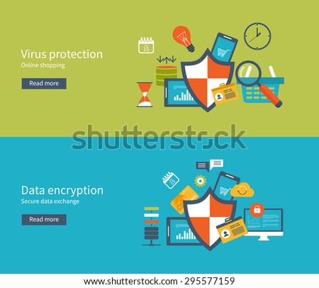 Set of flat design vector illustration concepts for data protection and internet security. Data protection set with encryption secure data exchange. Concepts for web banners and printed materials. - stock vector