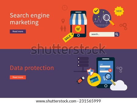 Set of flat design vector illustration concepts for data protection and search engine marketing. Concepts for web banners and printed materials. - stock vector