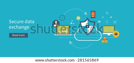 Set of flat design vector illustration concepts for data protection, data encryption and secure data exchange. Concepts for web banners and printed materials. - stock vector