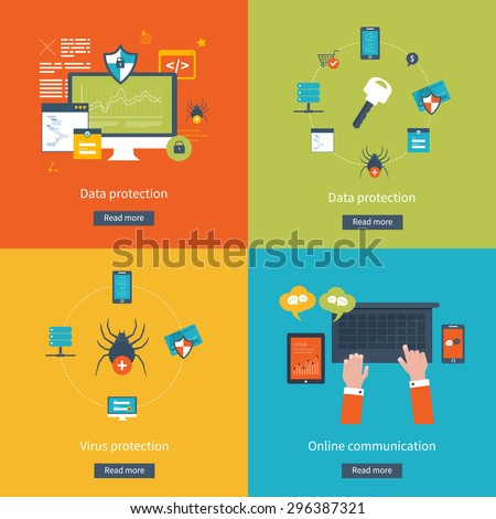 Set of flat design vector illustration concepts for data protection,  virus protection, safe work, internet security and online communication. Concepts for web banners and printed materials. - stock vector