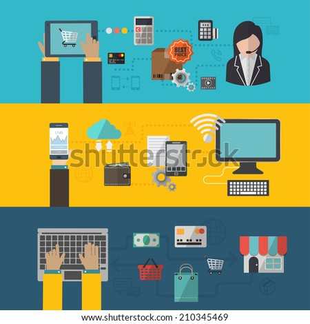 Set of flat design vector illustration concepts for online shopping and e-commerce, delivery and payment. - stock vector