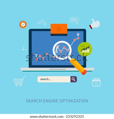 Set of flat design vector illustration concepts for search engine optimization and web analytics elements. - stock vector
