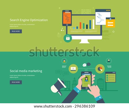 Set of flat design vector illustration concepts for search engine optimization and web analytics elements. Mobile app. - stock vector