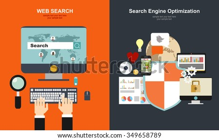 Set of flat design vector illustration concepts for search engine optimization and web analytics elements. Mobile app.Flat web search background. Internet information and data. Loupe. - stock vector