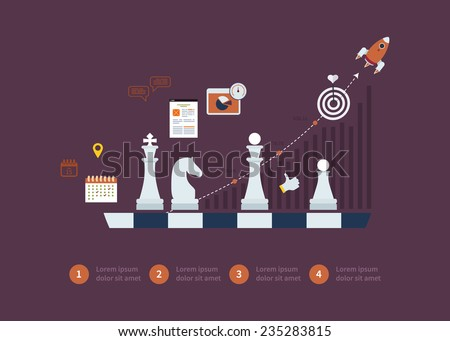 Set of flat design vector illustration concepts for strategy planning, goal-oriented planning, successful business and emerging market - stock vector
