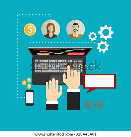 Set of flat design vector illustration concepts of online shopping, mobile marketing and digital marketing. - stock vector