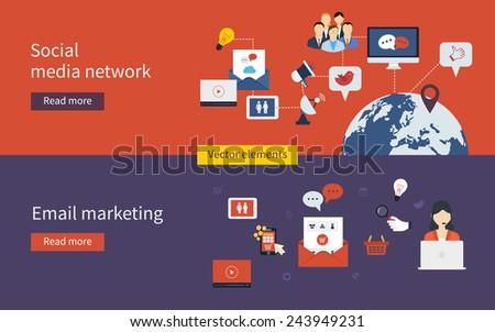 Set of flat design vector illustration concepts of online shopping, social media network, mobile marketing and digital marketing. - stock vector