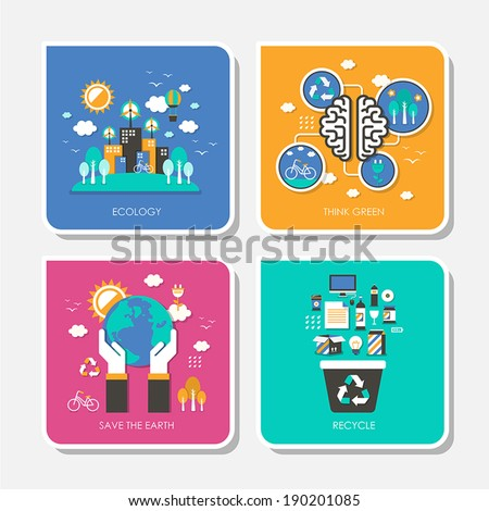 set of flat design vector illustration for ecology, think green, save the earth, recycle - stock vector