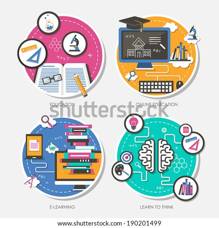 set of flat design vector illustration for education, online education, e-learning, learn to think - stock vector