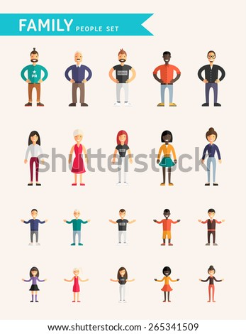 Set of Flat Design Vector Illustrations. Family People. Parents and Children