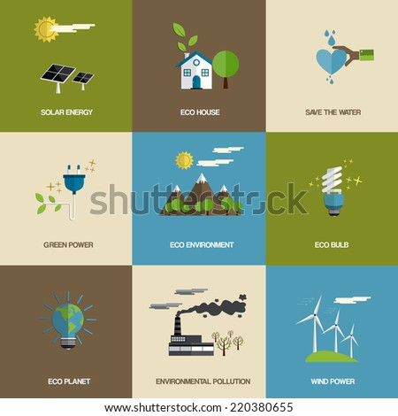 Set of flat designed ecology icons.Vector - stock vector