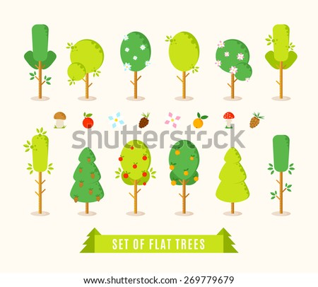 Set of flat different trees. Green trees vector illustration in trendy flat style. Including elements for your design: mushrooms, apple, orange, flowers, pinecone - stock vector