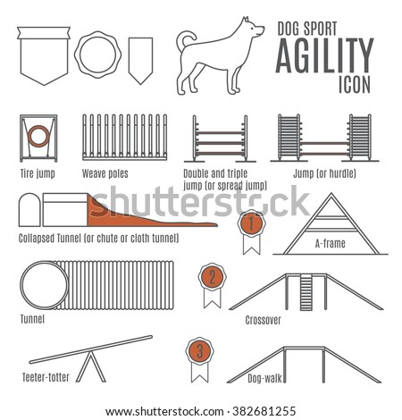 Set of flat dog sport icons drawing with black lines on white background.Dog competition.Agility. - stock vector