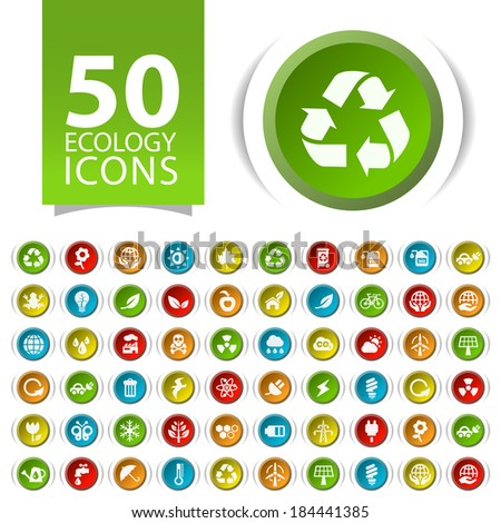 Set of 50 Flat Ecology Icons on Circular Buttons. - stock vector