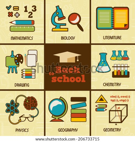 Set of  flat education icons. - stock vector