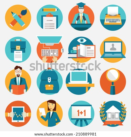 Set of flat education icons for design - vector icons - stock vector