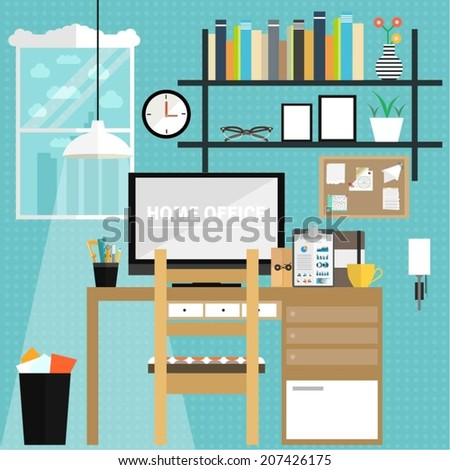 Set Of Flat Elements For Home Office Design Concept Illustration Freelance Work From