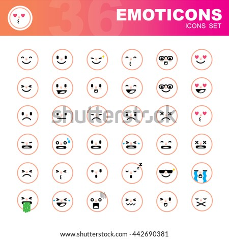 Set of flat emoticons on white background - stock vector