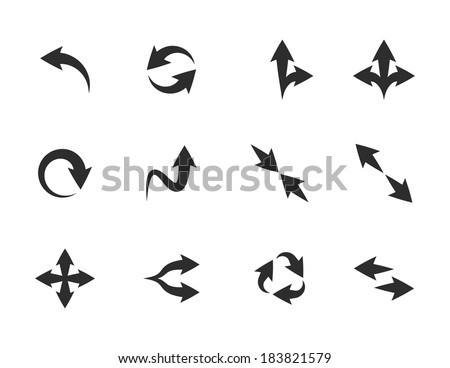 Set of flat fancy vector arrow icons - stock vector
