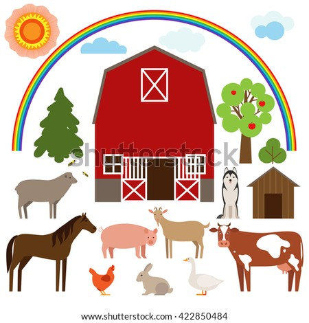 Set Of Flat Farm Animals On A White Background And