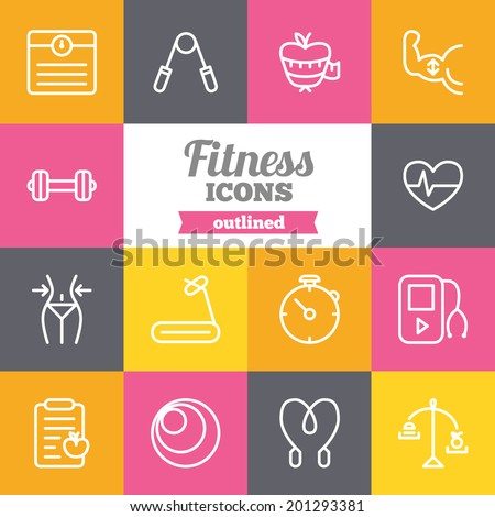 Set of flat fitness icons  - stock vector