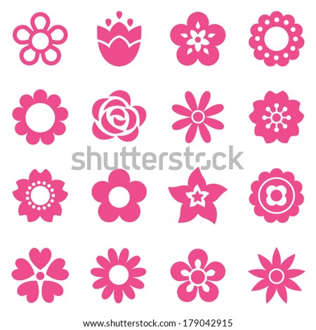 Set of flat flower icons in silhouette isolated on white. Cute retro designs in pink. Seamless background pattern for gift wrapping paper, textiles, wallpaper. - stock vector