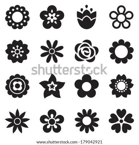 Set of flat flower icons in silhouette isolated on white. Simple retro designs in black and white. Seamless background pattern for gift wrapping paper, textiles, wallpaper. - stock vector