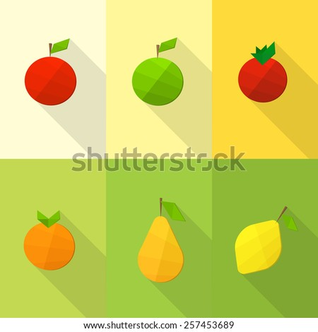 Set of flat fruits - stock vector