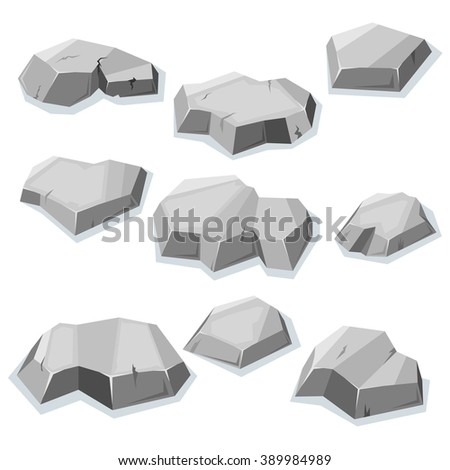 Set of flat gray stones isolated with shadow for video game