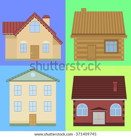 Set of flat houses. House flat style illustration.Vector house.