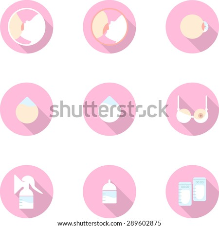 Set of flat icon of breastfeeding. Breast pads,bottle, breast pump,bottles, nursing cover, correct latch-on, incorrect latch-on, colostrum, breastfeeding bra, storage bag. - stock vector