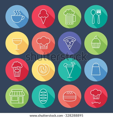 set of flat icon related to restaurant - stock vector