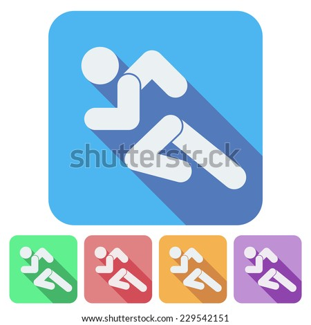 Set of Flat icon with Running people simple symbol. Vector isolated on a white background. - stock vector