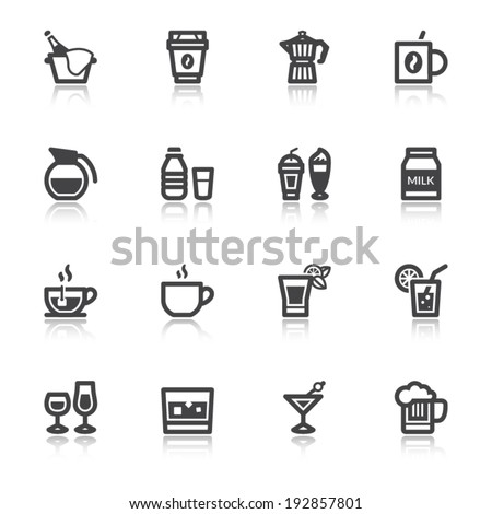 Set of flat icons about beverage with reflection - stock vector