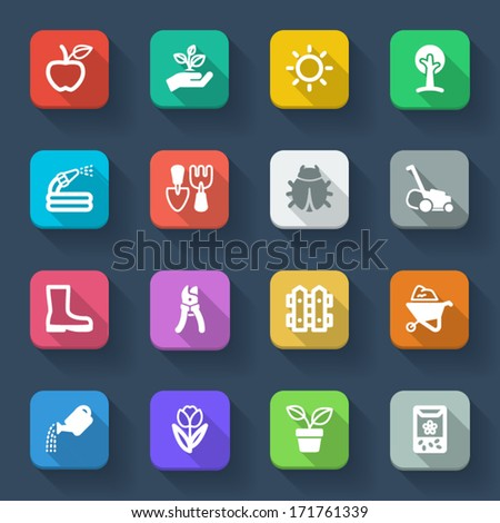 Set of flat icons about gardening in a square with long shadow - stock vector