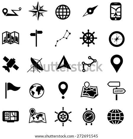 set of flat icons, about navigation - stock vector