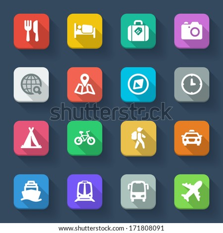 Set of flat icons about travel in a square with long shadow - stock vector