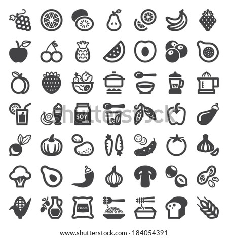 Set of flat icons about vegan food and drink - stock vector