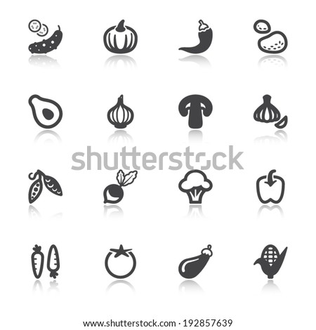 Set of flat icons about vegetables with reflection - stock vector