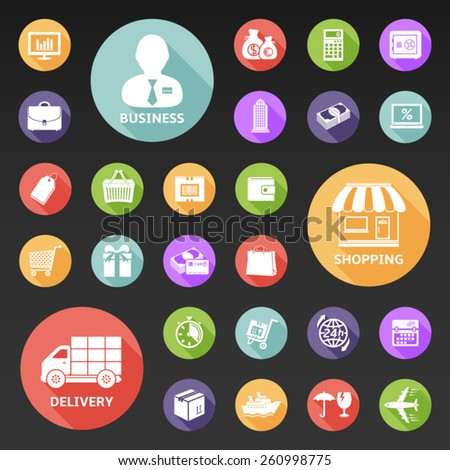 Set of flat icons for business, shopping and delivery